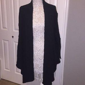 Free people black cardigan zip sleeve sweater top